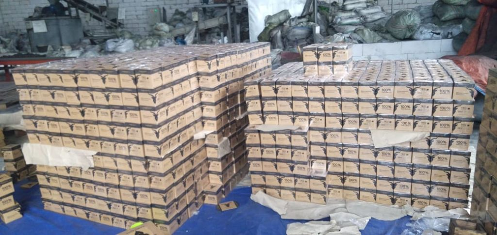 Coconut charcoal packing boxes ready for shipment
